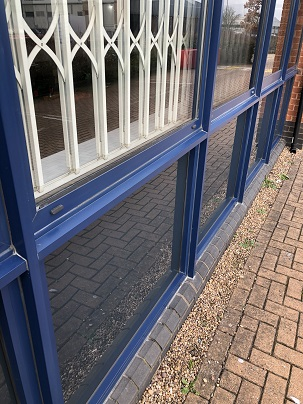 Powder Coated Blue Window Ledge Restorative Cleaning After