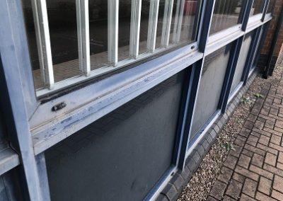 Powder Coated Blue Window Ledge Restorative Cleaning Before